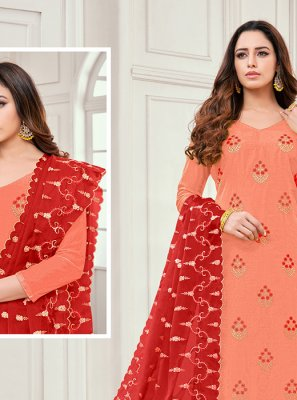 Orange Embroidered Salwar Kameez