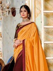 Orange Embroidered Silk Designer Saree