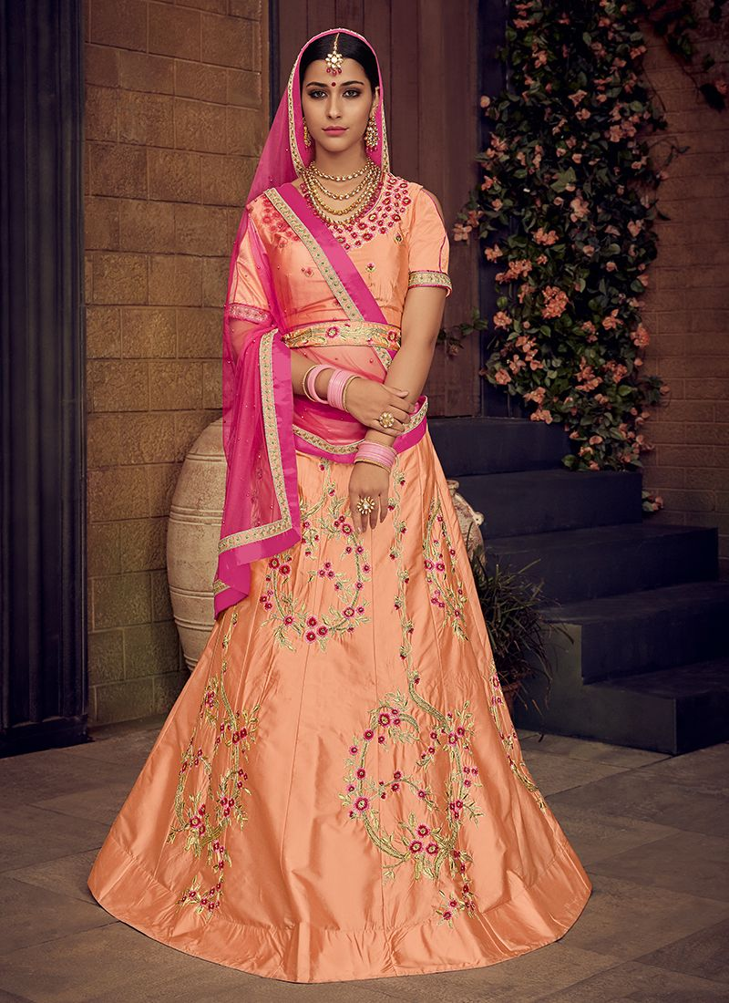 Orange Embroidered Trendy Lehenga Choli