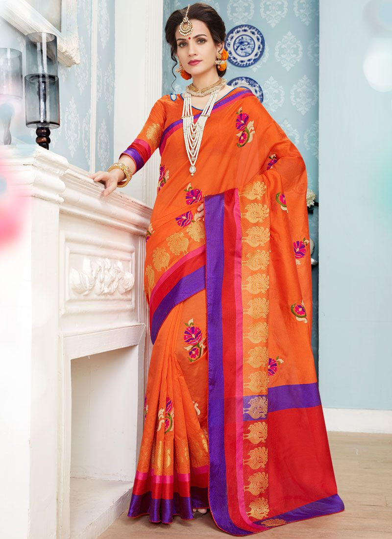 Orange Embroidered Work Art Silk Cotton Designer Traditional Saree