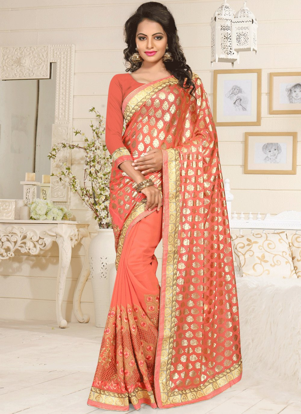 Orange Embroidered Work Lycra Classic Saree