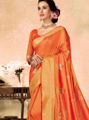 Orange Fancy Fabric Embroidered Classic Saree