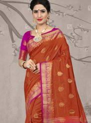 Orange Fancy Fabric Party Classic Saree