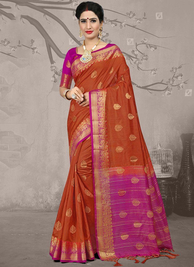 Orange Fancy Fabric Party Classic Saree