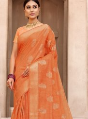Orange Fancy Fabric Traditional Designer Saree