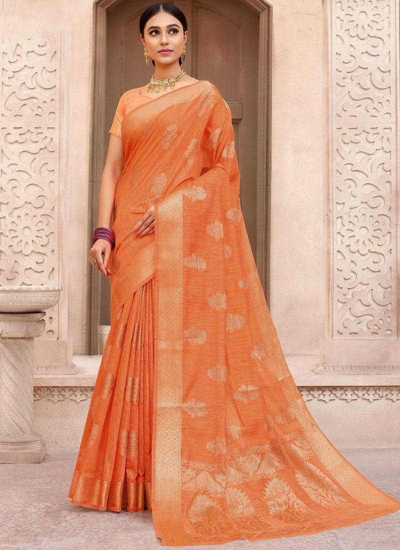 Orange Fancy Fabric Traditional Designer Saree