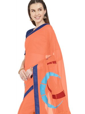 Orange Faux Chiffon Printed Saree