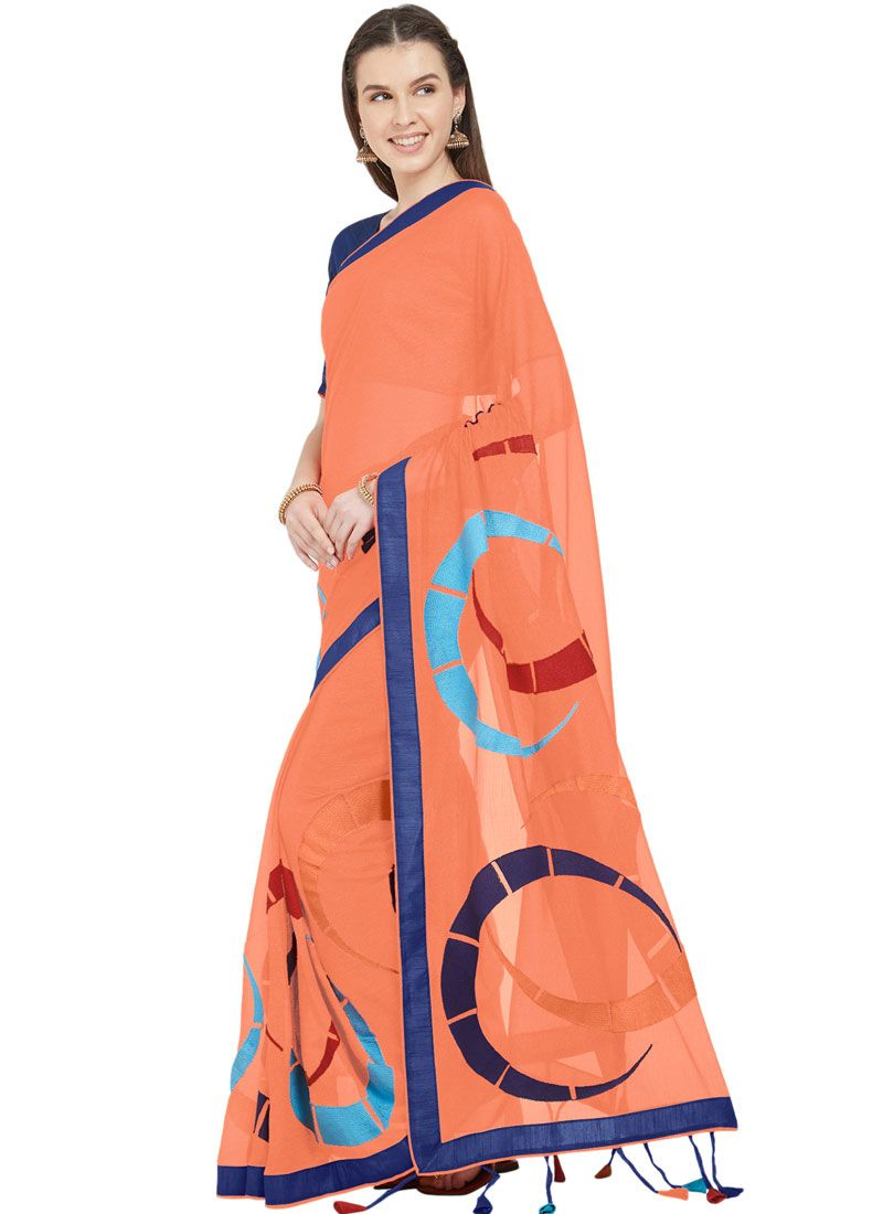 Orange Faux Chiffon Printed Saree