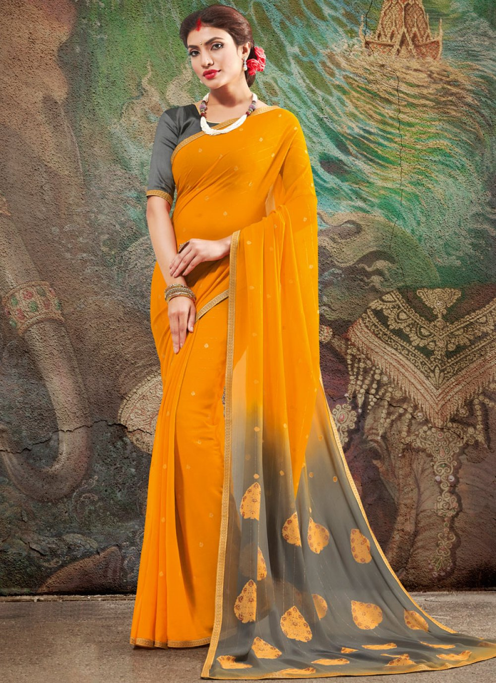 Orange Faux Georgette Printed Saree