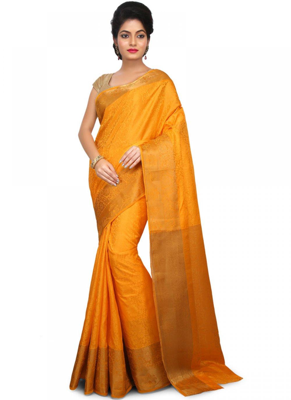 Orange Festival Art Silk Designer Traditional Saree
