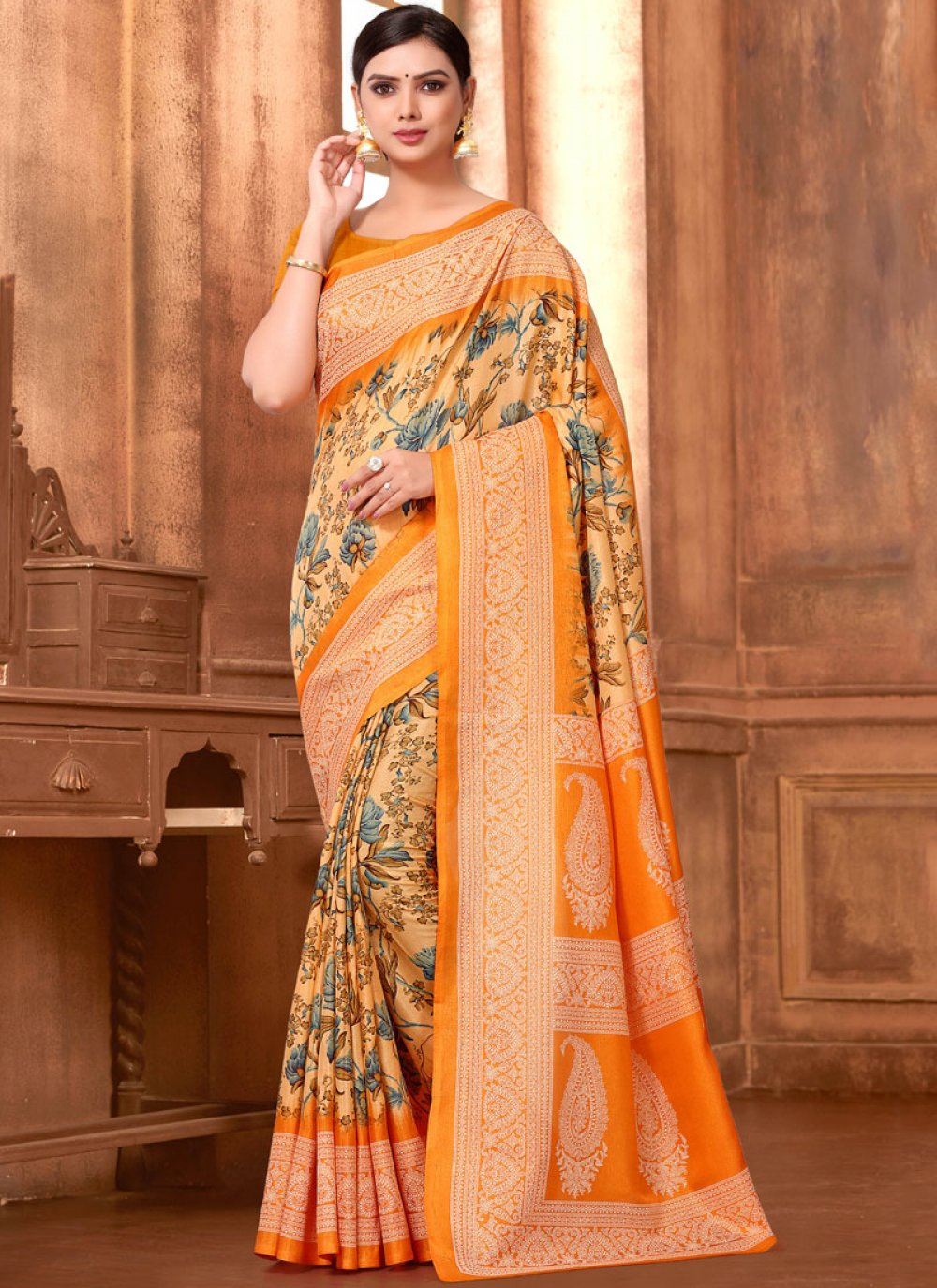 Orange Festival Art Silk Printed Saree