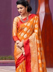 Orange Festival Art Silk Traditional Designer Saree