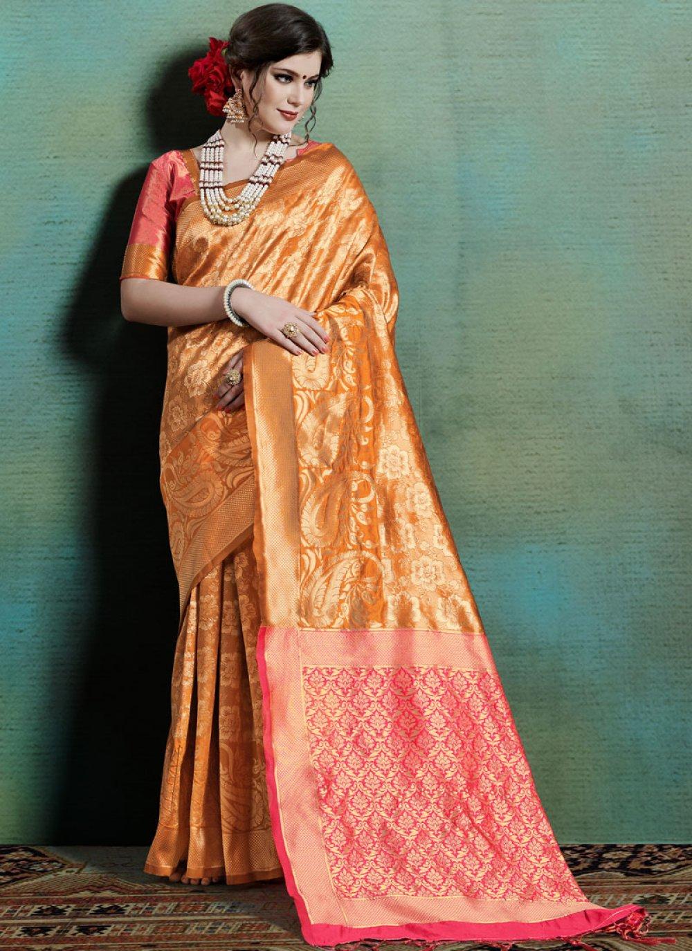 Orange Festival Art Silk Traditional Saree