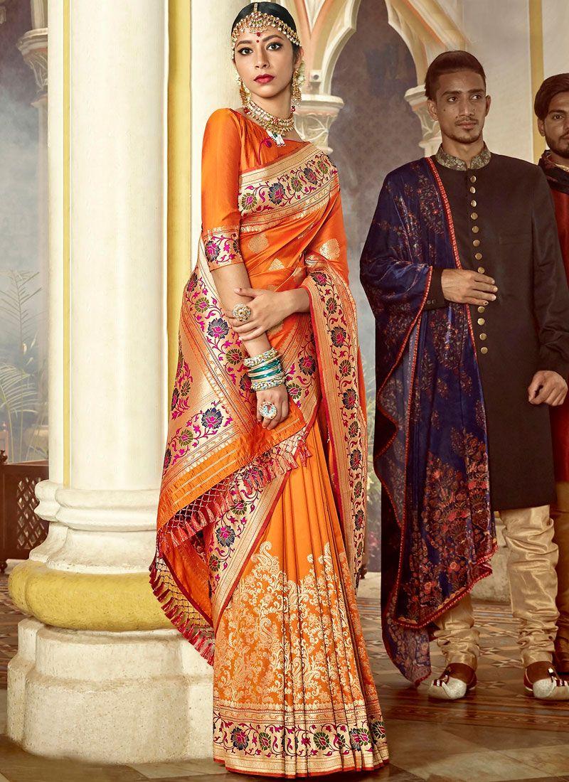 Orange Festival Designer Traditional Saree
