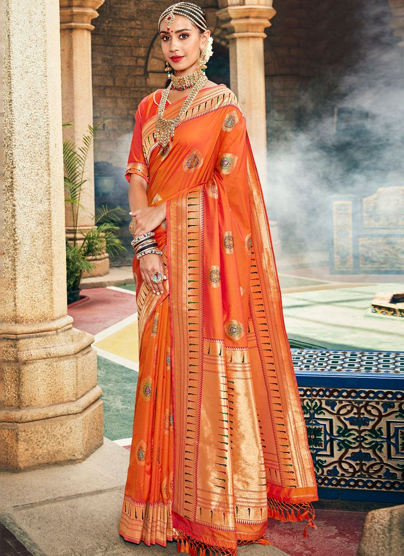Orange Festival Designer Traditional Saree