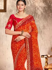 Orange Festival Faux Georgette Casual Saree