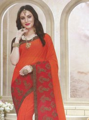 Orange Festival Faux Georgette Classic Saree