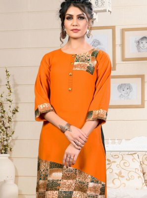 Orange Festival Party Wear Kurti