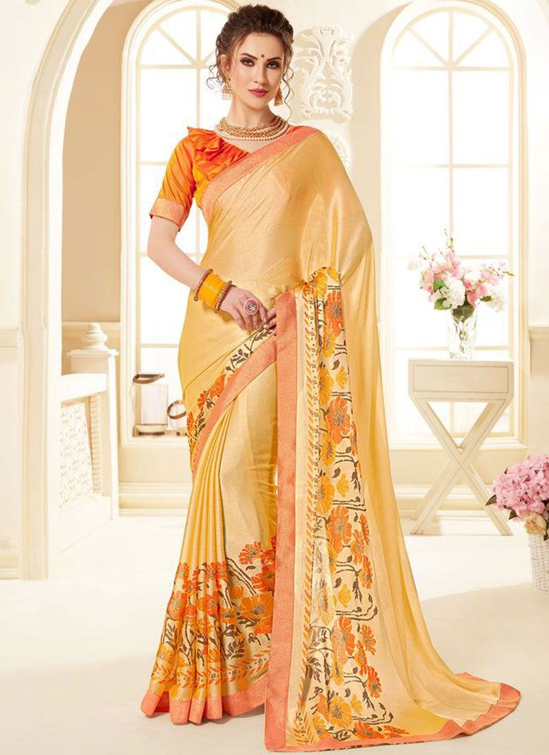 Orange Festival Printed Saree