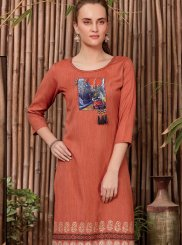 Orange Festival Rayon Casual Kurti