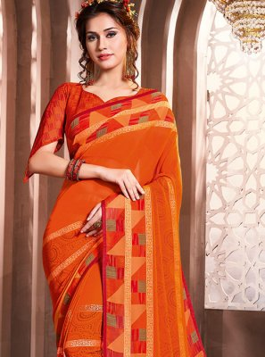Orange Foil print Faux Georgette Casual Saree