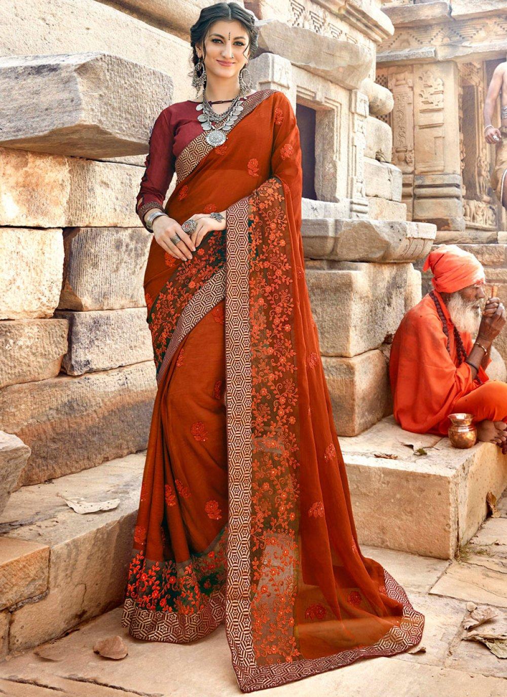 Orange Georgette Classic Designer Saree
