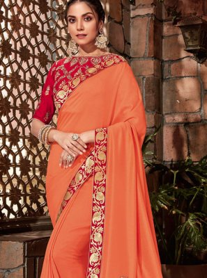 Orange Georgette Sangeet Designer Saree