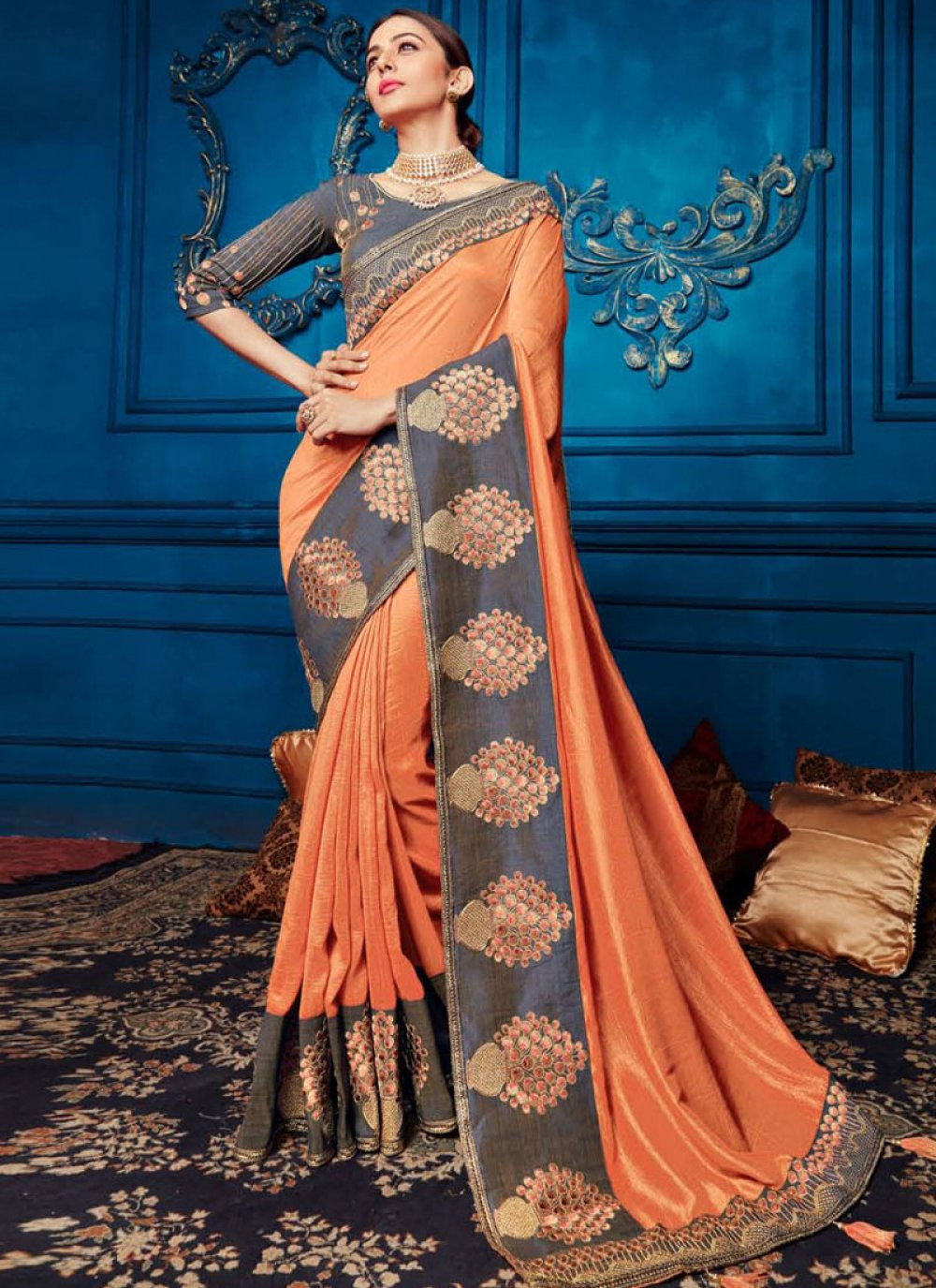 Orange Georgette Satin Traditional Saree