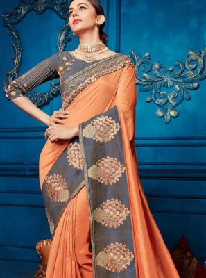 Orange Georgette Satin Traditional Saree