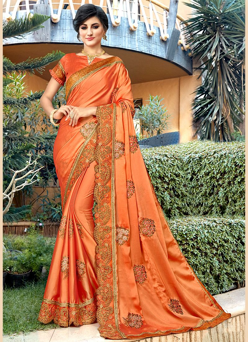 Orange Georgette Trendy Saree