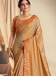 Orange Jacquard Silk Classic Designer Saree