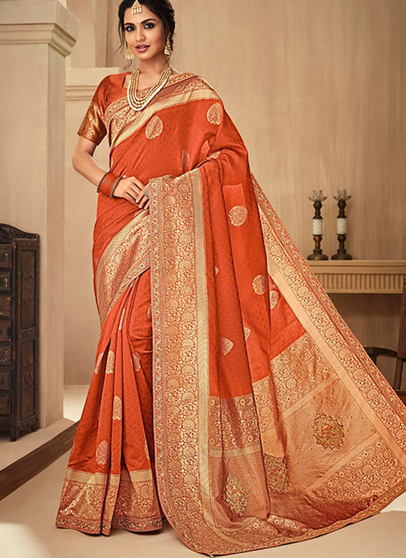 Orange Jacquard Silk Traditional Saree