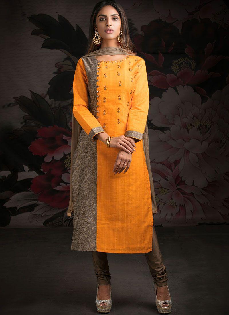 Orange Katha Jacquard Designer Salwar Kameez