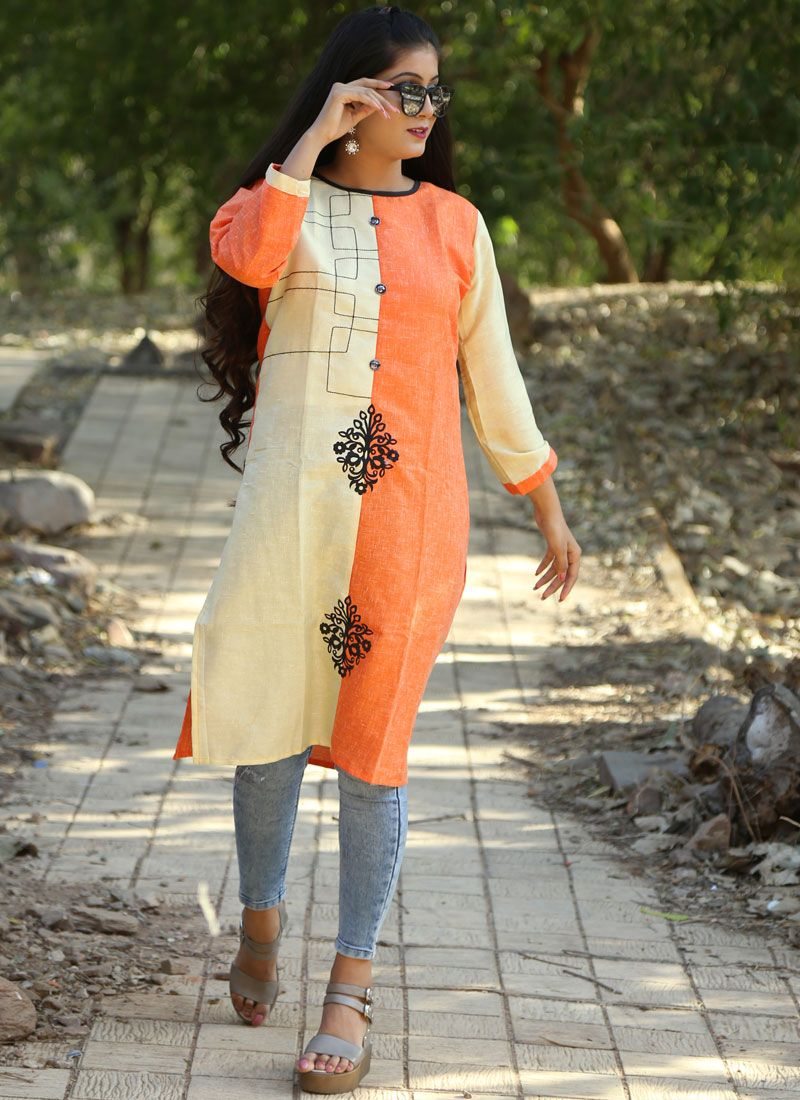 Orange Khadi Party Party Wear Kurti