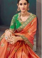 Orange Lace Mehndi Classic Saree