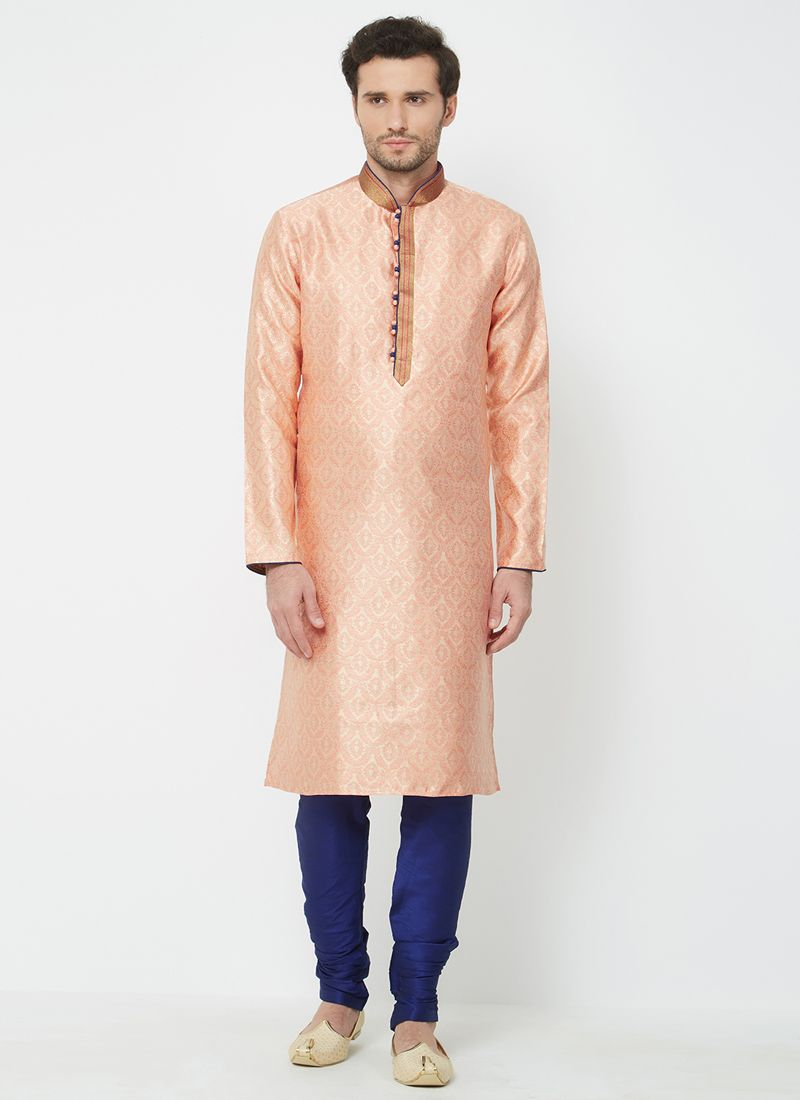 Orange Linen Ceremonial Kurta Pyjama