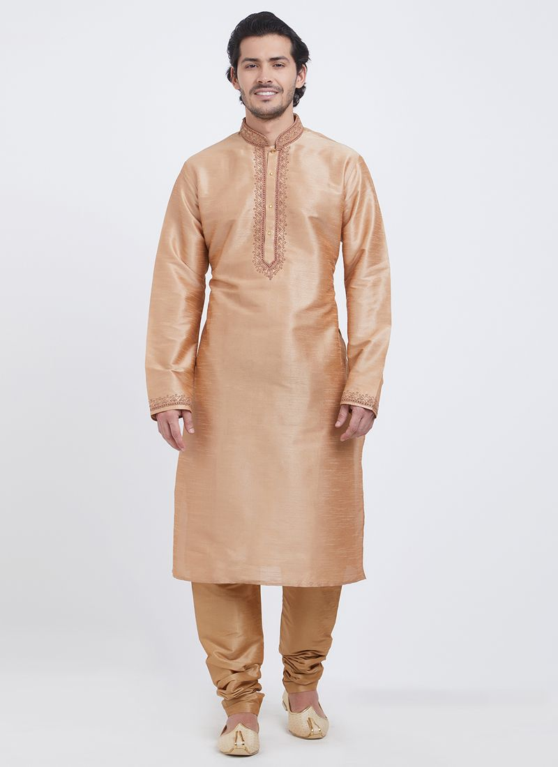 Orange Linen Plain Kurta Pyjama
