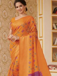 Orange Linen Traditional Saree