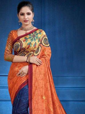 Orange Mehndi Classic Saree