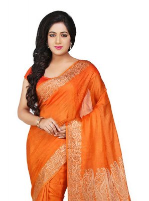 Orange Mehndi Designer Traditional Saree
