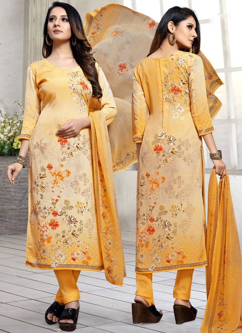 Orange Mehndi Faux Georgette Trendy Pakistani Suit