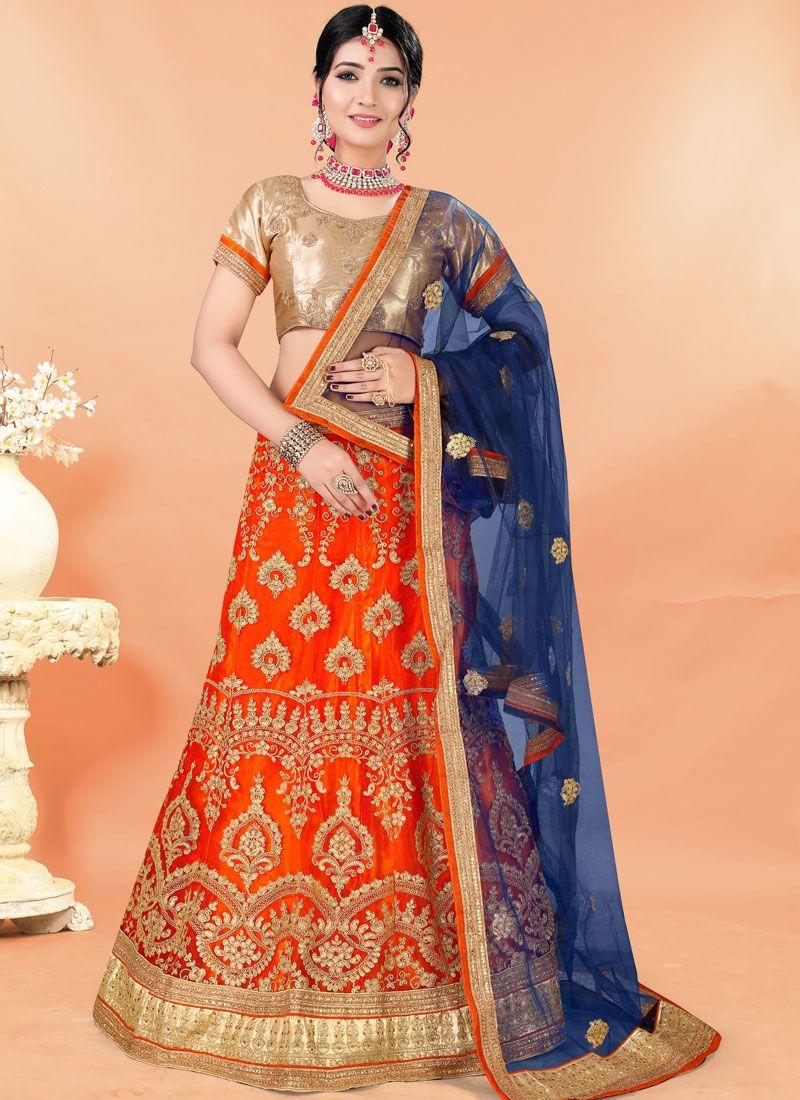 Orange Mehndi Net Trendy Lehenga Choli