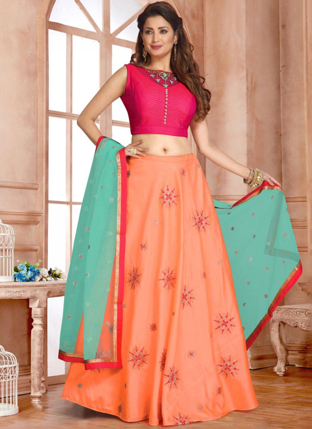 Orange Mehndi Readymade Lehenga Choli