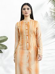 Orange Muslin Party Wear Kurti