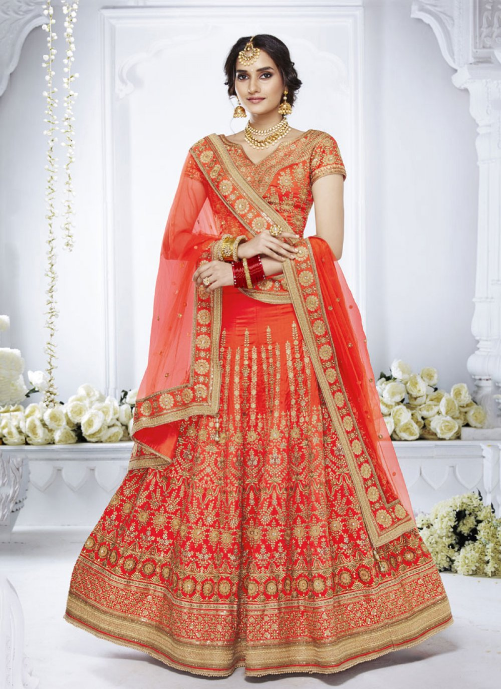 Orange Net Embroidered Designer Lehenga Choli