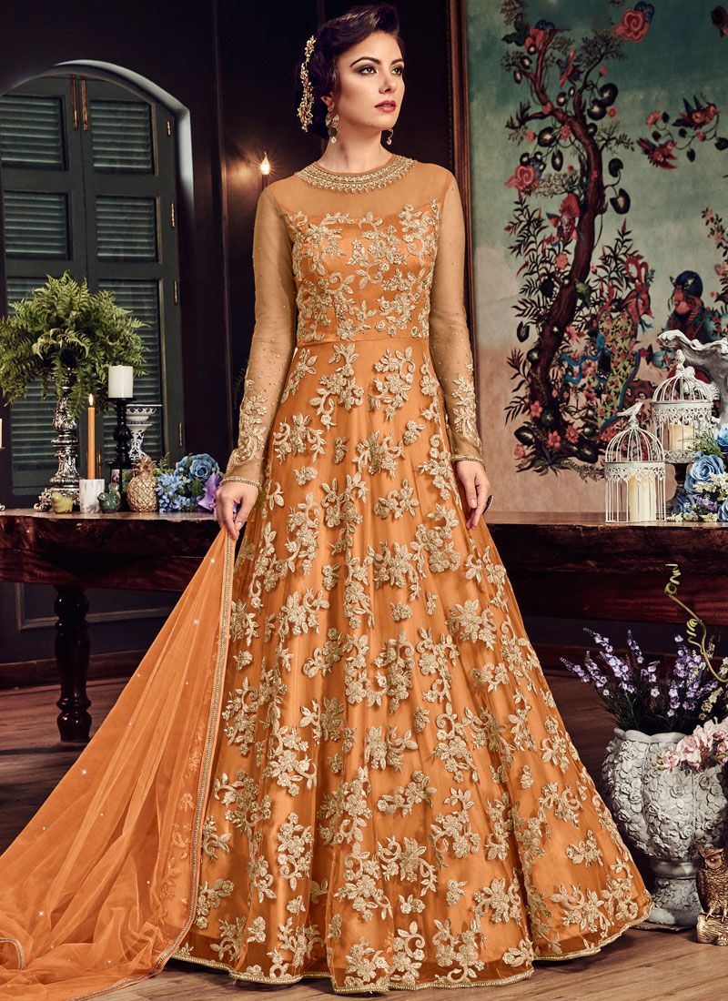 Orange Net Floor Length Anarkali Suit