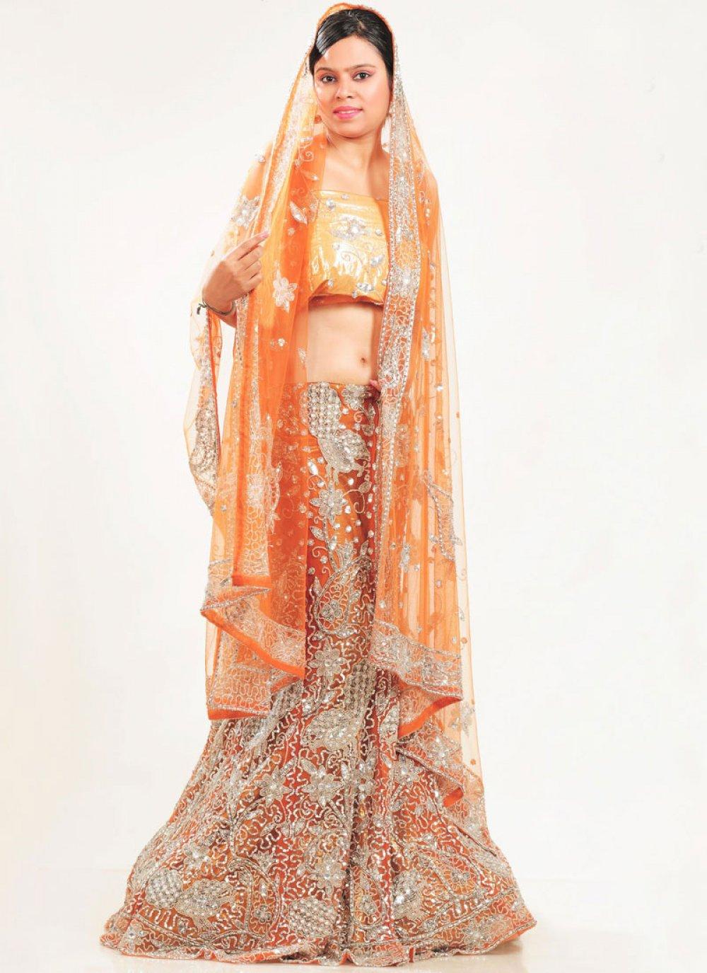Orange Net Lehenga Choli