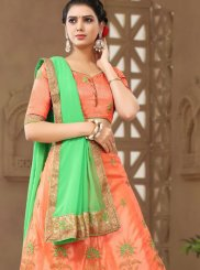 Orange Net Zari Trendy Lehenga Choli