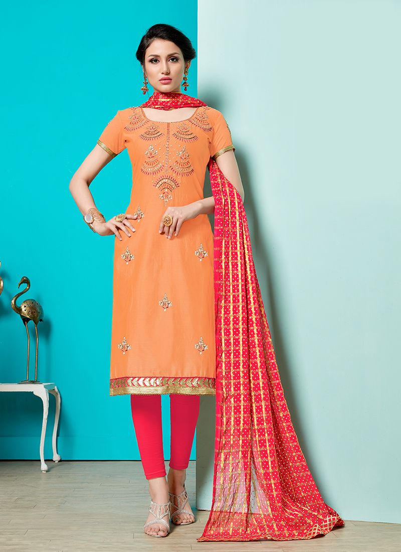 Orange Party Churidar Designer Suit