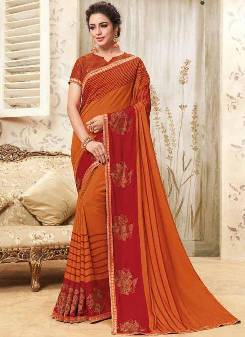 Orange Party Classic Designer Saree